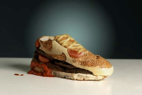 This is what happens when the bottom of your shoe is a sandwich